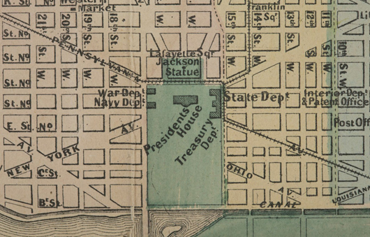 Section of 1862 topographical map of 'Original District of Columbia and Environs' showing street grids and important landmarks, including 'Presidents House.' Est. $4,000-$6,000. Waverly's image.