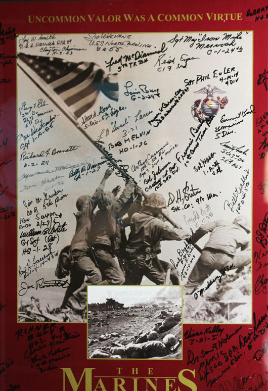 Panel from 1995 calendar commemorating 50th anniversary of US Marines' landing at Iwo Jima, signed by approximately 66 Iwo Jima vets. Est. $400-$600. Waverly's image.
