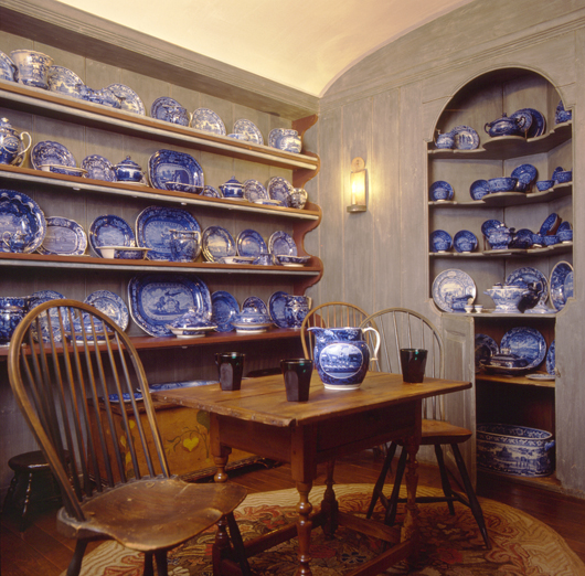 Henry Francis du Pont was an enthusiastic collector of transfer-printed American views, which he used to create this impressive display in the Blue Staffordshire Room at Winterthur. Courtesy, Winterthur; photo by Lizzie Himmel.