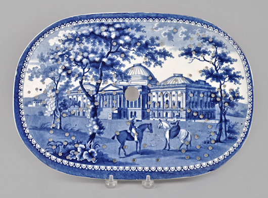 Part of the Beauties of America series by J. & W Ridgway, this strainer for a platter features a desirable early view of the Capitol in Washington, which brought $3.081 (est. $800-$1.200). Courtesy Pook & Pook.