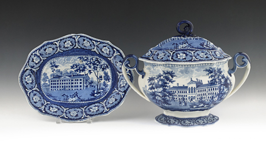 Large tureens remain the show-stoppers of any set of dishes. This example stamped J. & W. Ridgway, which features views of the Alms House Boston and the Deaf and Dumb Asylum Hartford, sold in October at Pook & Pook for $5,214. Courtesy Pook & Pook.