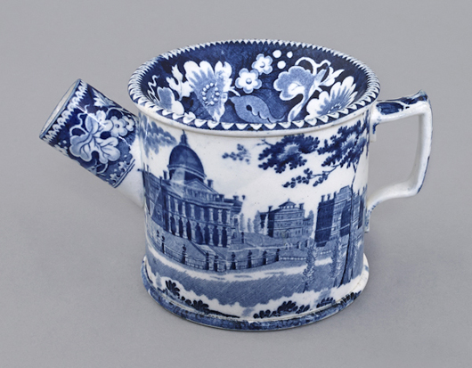 The Boston State House pattern was a favorite in the Goldberg-Brown collection. The same dignified scenes were applied to tableware and personal items such as wash sets, and this diminutive ladies' spittoon, which brought $7,110 (est. $1,200-1,800). Courtesy Pook & Pook.