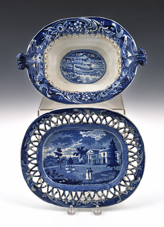 Reticulated baskets with lacy cutout borders are another desirable form. Decorated with scenes of the Upper Ferry Bridge over River Schuylkill and Woodlands near Philadelphia, this example brought $9,480 (est. $1,500-$2,500). Courtesy Pook & Pook.