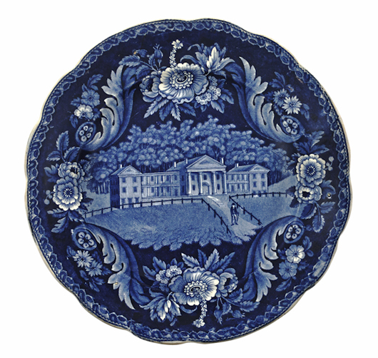 Rare views bring top prices. This Clews plate with the Mount Pleasant Classical Institute in Massachusetts, one of three known examples, brought $21,330 (est. $4,000-$6,000). Courtesy Pook & Pook.