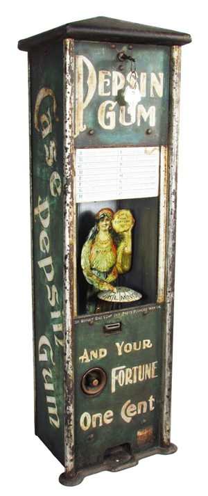 One-cent Pepsin Gum dispenser— 'And Your Fortune'— coin-op machine, which sold for $57,000. Showtime Auction Services image.