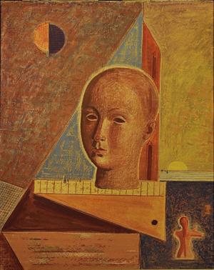 Mario Tozzi, 'L'Apparizione,' 1966, olio su tela, 81,5 x 65 cm. Courtesy Gioielli di Carta.