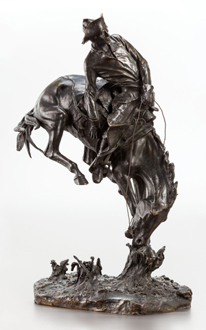 Frederic Remington (American, 1861-1909), 'The Outlaw #5,' bronze with dark brown patina, 23-1/4 x 14 x 8 inches, numbered no. 5 beneath the base, inscribed on base: 'Copyrighted / Frederic Remington,' foundry mark on base: 'Roman Bronze Works,' copyrighted May 3, 1906. Estimate: $800,000-$1.2 million. Heritage Auctions image.