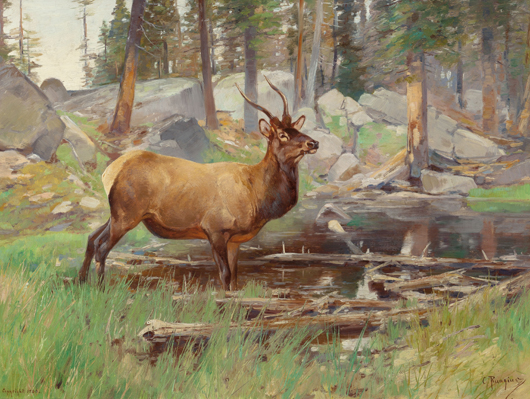 Carl Clemens Moritz Rungius (American, 1869-1959), 'Elk,' 1906, oil on canvas. Estimate: $60,000-$80,000. Heritage Auctions image.