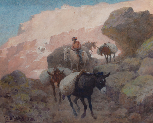 William Robinson Leigh (American, 1866-1955), 'The Mesa Trail,' 1950, watercolor with gum arabic on paper laid on canvas. Estimate: $10,000-$15,000. Heritage Auctions image.