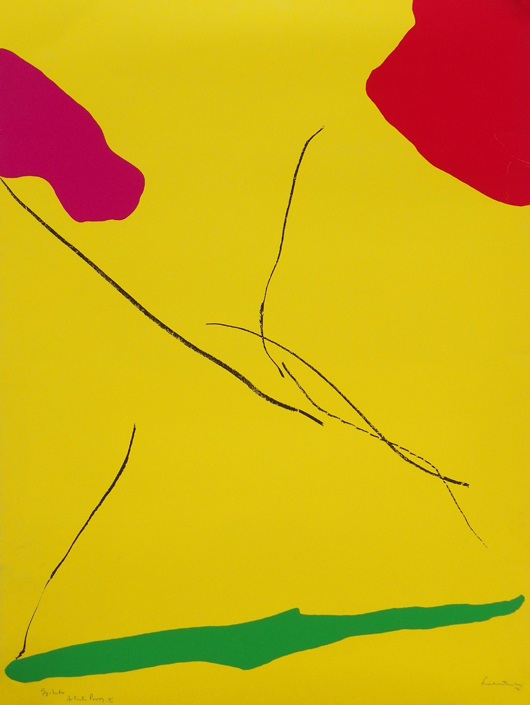 Helen Frankenthaler (American, 1928-2011), 'Spoleto,' screen-print on Arches paper, artist's proof 8/10 of an edition of 100, signed, $3,000. Palm Beach Modern Auctions image.