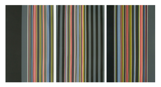 Gene Davis (American, 1920-1985), lithograph triptych, 72¼in x 136½ in, signed, dated 1974, $9,000. Palm Beach Modern Auctions image.