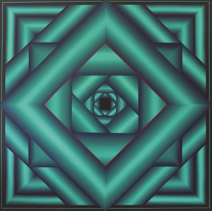 George Snyder (b. 1951-) abstract optical painting measuring 67.5 inches square, titled 'Lush Life,' $5,100. Palm Beach Modern Auctions image