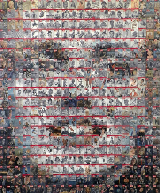 Robert Silvers (American, b. 1968) photomosaic of Marilyn Monroe composed of Life Magazine covers, numbered 9/10, with COA from Fabien Fryns Gallery, $6,000. Palm Beach Modern Auctions image.