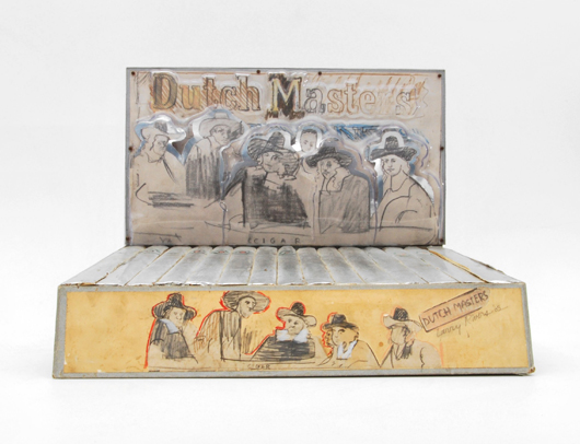 Larry Rivers (American, 1923-2002), 'Dutch Masters,' cigar box mixed-media sculpture, dated 1968, $6,600. Palm Beach Modern Auctions image.