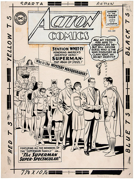 Curt Swan original cover art for Action Comics #309 featuring Superman family and JFK disguised as Clark Kent. Probably the only remaining original art from this controversial issue, which came out the week after President Kennedy's assassination. Estimated at $50,000-$75,000, it sold for $112,015. Photo: Hake's Americana & Collectibles