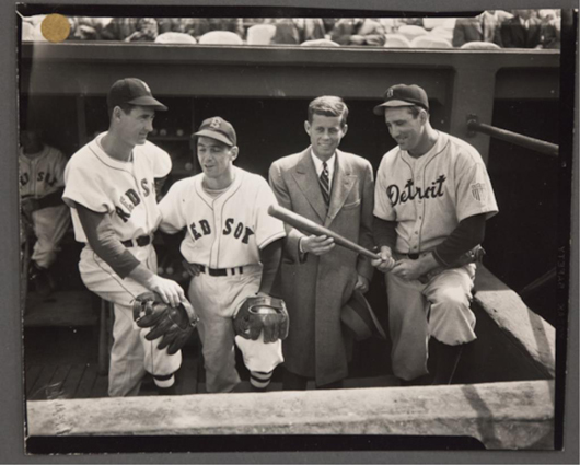 John F. Kennedy with the Boston Red Sox. John McInnis Auctioneers image.
