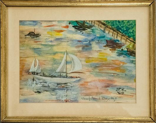 Watercolor by President John F. Kennedy. John McInnis Auctioneers image.