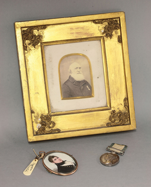 Victorian Naval General Service medal awarded to midshipman William Martin, plus miniature portrait and photograph. Sworders' image.