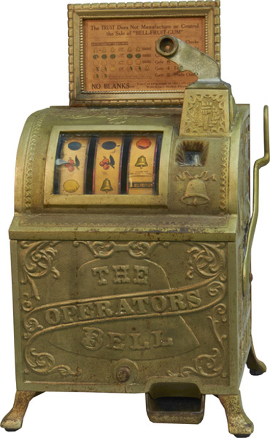 Five-cent Mills Novelty Operators Bell slot machine. Victorian Casino Antiques image.
