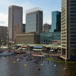 View of a portion of Baltimore's Inner Harbor as seen from the Baltimore Aquarium. June 16, 2012 photo by G. Edward Johnson (http://EdwardJohnson.com), licensed under the Creative Commons Attribution 3.0 Unported license.