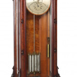 E. Howard & Co. No. 68 floor standing astronomical regulator clock with exceptional color and patina (est. $100,000-$150,000). Fontaine's Auction Gallery image.