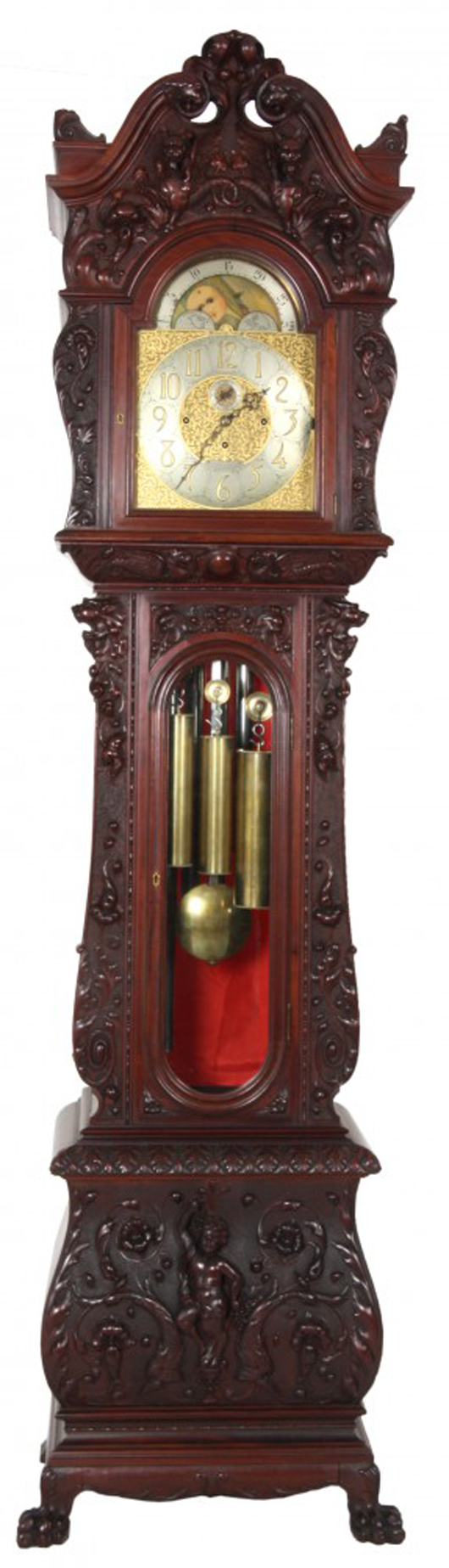 Tiffany & Co. grandfather clock with mahogany case attributed to R.J. Horner, 105 inches tall (est. $15,000-$20,000). Fontaine's Auction Gallery image.