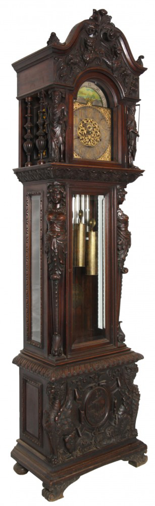 Figural carved mahogany nine-tube grandfather clock attributed to R.J. Horner, 107 inches tall (est. $40,000-$60,000). Fontaine's Auction Gallery image.