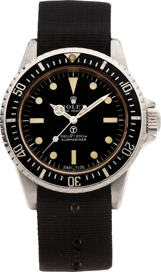 Rolex very rare Ref. 5513 Oyster Perpetual Submariner made for the British Royal Navy, circa 1974. Estimate: $30,000-$50,000. Heritage Auctions image.