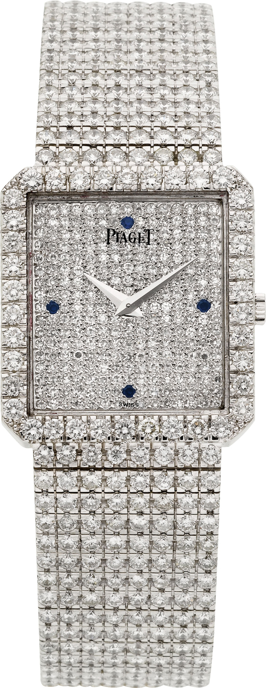 Piaget Protocole exceptional 18K white gold diamond and sapphire wristwatch, 857 round white diamonds estimated at 18.2 carats. Estimate: $50,000-$60,000. Heritage Auctions image.