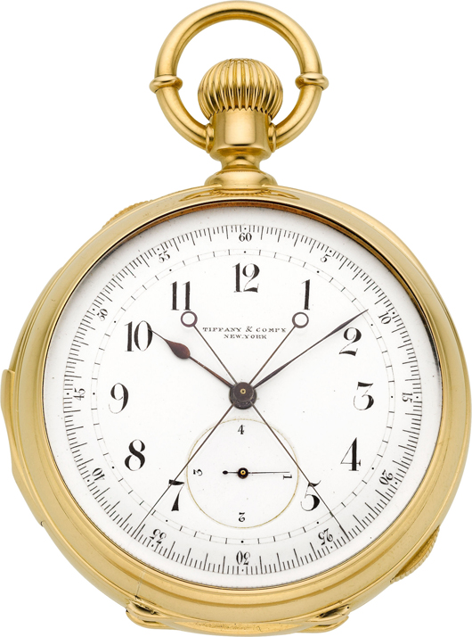 Tiffany & Co. movement attributed to Louis Audemars rare and important minute repeating tandem wind pocket watch with Rattrapante chronograph and quarter-second jump, circa 1873. Estimate: $30,000-$40,000. Heritage Auctions image.