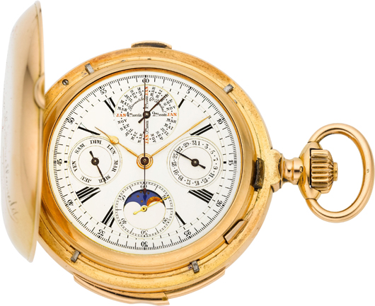 Swiss rare and important gold minute repeater with perpetual calendar, moon phase & chronograph commemorating Nicolás Avellaneda, president of Argentina, circa 1890. Estimate: $20,000-$30,000. Heritage Auctions image.