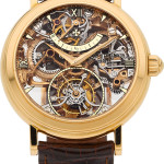 Vacheron Constantin rare skeletonized pink gold twin barrel one-minute Tourbillon with power reserve, 18k pink gold. Estimate: $50,000-$75,000. Heritage Auctions image.