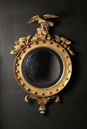 Lot 150 - 19th Century Federal gilt carved girandole with convex mirror. Kamelot Auction House image. Kamelot Auction House image.