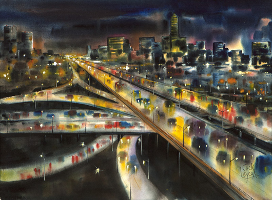 A moody watercolor scene of bustling freeway overpasses at dusk by Jack Laycox was estimated to find a buyer between $3,000 and $5,000, but set a new record for the artist's work with a price of $15,600. John Moran Auctioneers image.