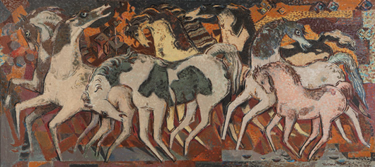 A new second-place record was achieved for Claremont, Calif., artist Millard Sheets with 'Pinto Herd,' a large mural-like composite, which Moran's sold for $72,000. John Moran Auctioneers image.