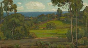 This Santa Barbara coastal view by William Wendt, acknowledged dean of Southern California impressionists, earned a selling price of $72,000 (estimate: $50,000–$70,000). John Moran Auctioneers image.