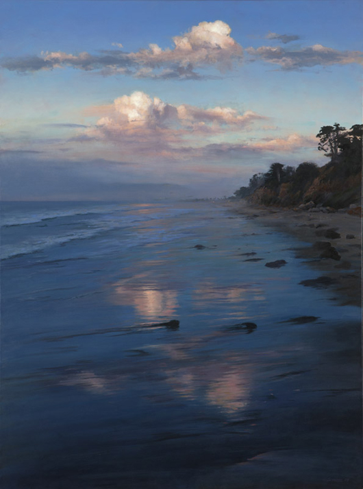 'Early Morning Clouds, Butterfly Beach' by Richard Schloss, another Santa Barbara-based contemporary whose work Mr. Bryant collected, incited competitive bidding and did not hammer until the auctioneer reached the $6,000 mark (estimate: $800–$1,200). John Moran Auctioneers image.
