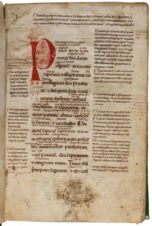 Glossed Biblical manuscript, 12th century. PBA Galleries image.