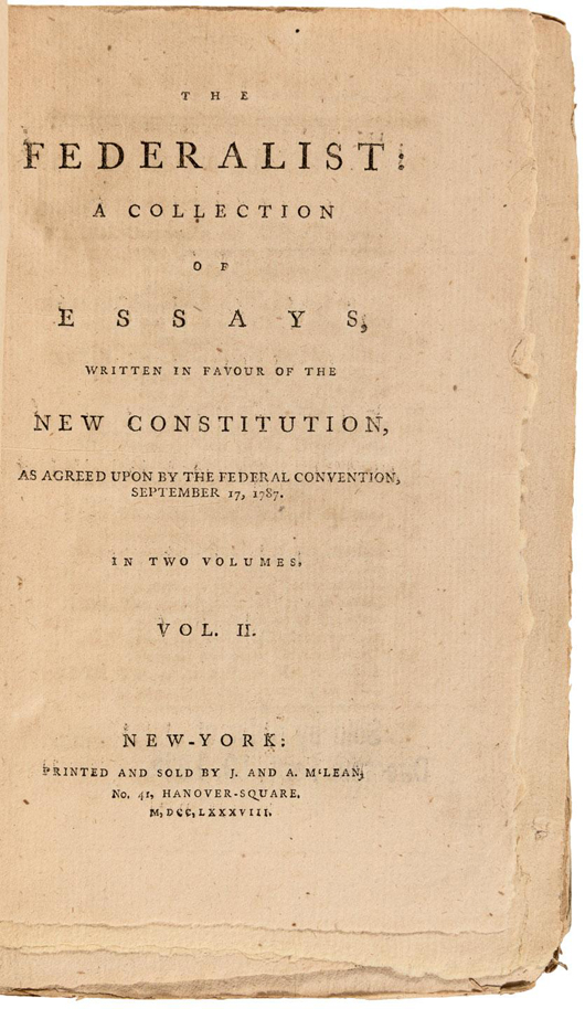 Rare unopened and untrimmed copy of Volume 2, 1788, of 'Federalist Papers.' PBA Galleries image.