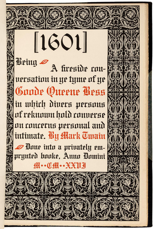 Mark Twain's '1601,' one of only 100 printed. PBA Galleries image.