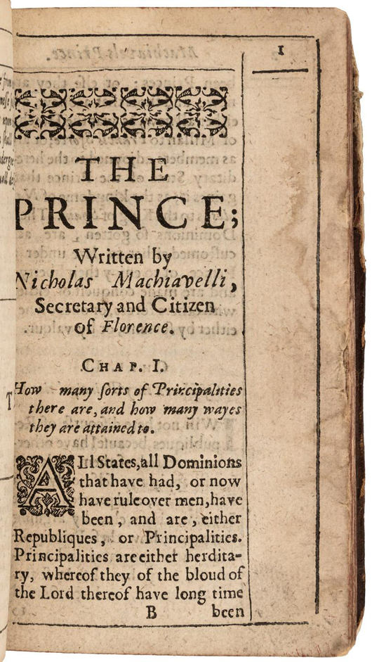 Niccolo Machiavelli's 'The Prince.' PBA Galleries image.