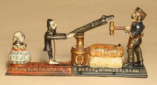 1886 J. & E. Stevens Breadwinners cast-iron mechanical bank. Est. $35,000-$45,000. RSL Auctions image.