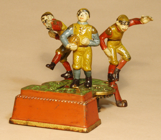 Circa-1905 J. & E. Stevens Calamity mechanical bank, one of the 10 best known. Est. $28,000-$35,000. RSL Auctions image.