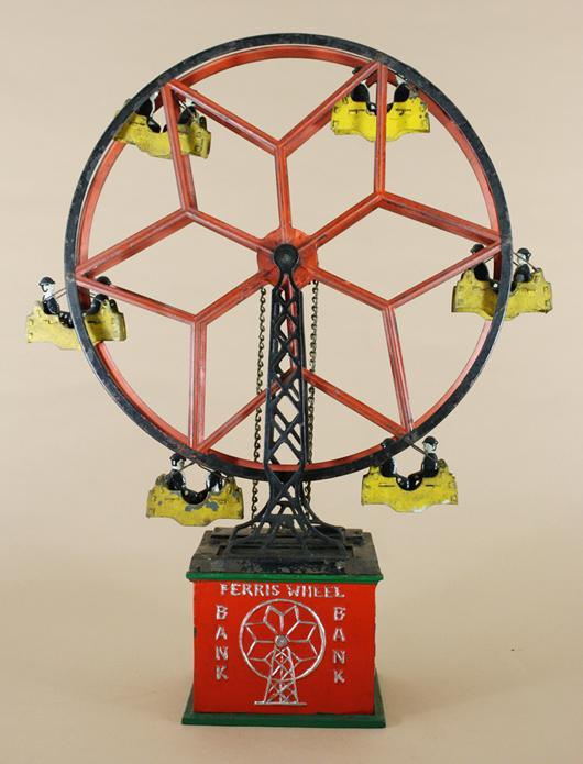 Circa-1930 Hubley Ferris Wheel cast-iron mechanical bank on base. Est. $8,000-$12,000. RSL Auctions image.