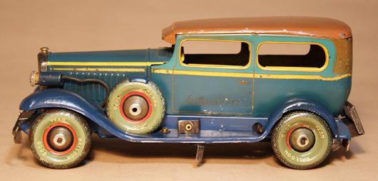 KY Franklin 2-door sedan, prewar Japanese, tin, working headlights. Est. $9,000-$12,000. RSL Auctions image.