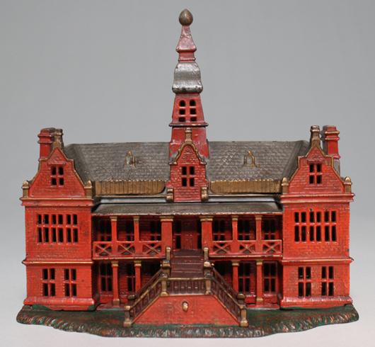 Red version of circa-1885 Ives, Blakeslee cast-iron Palace Bank. Provenance: Richard Garthoeffner. Est. $18,000-$22,000. RSL Auctions image.
