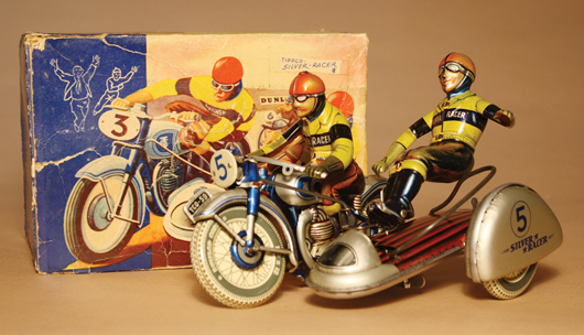 Tippco Silver Racer with sidecar, original box; tin, German. Est. $3,500-$4,500. RSL Auctions image.