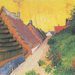 Although not the artwork in question, this is another painting from Vincent van Gogh's (Dutch, 1853-1890) Saintes-Maries series, created in 1888 during the artist's stay in Arles, France. It is titled 'Street in Saintes-Maries' and is held in a private collection.