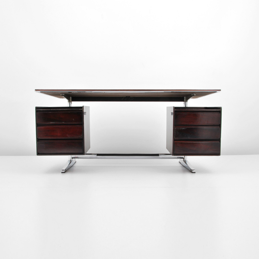 Gio Ponti (Italian) rosewood with chromed steel and plastic desk, est. $7,000-$10,000. Palm Beach Modern Auctions image.