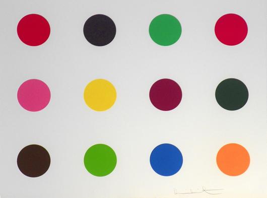 Damien Hirst (British) 'Mehionine' woodcut/woodblock, 2010, est. $9,000-$12,000. Palm Beach Modern Auctions image.
